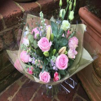 Craven - Pink Rose and Lissianthus Bouquet Joannes Florist