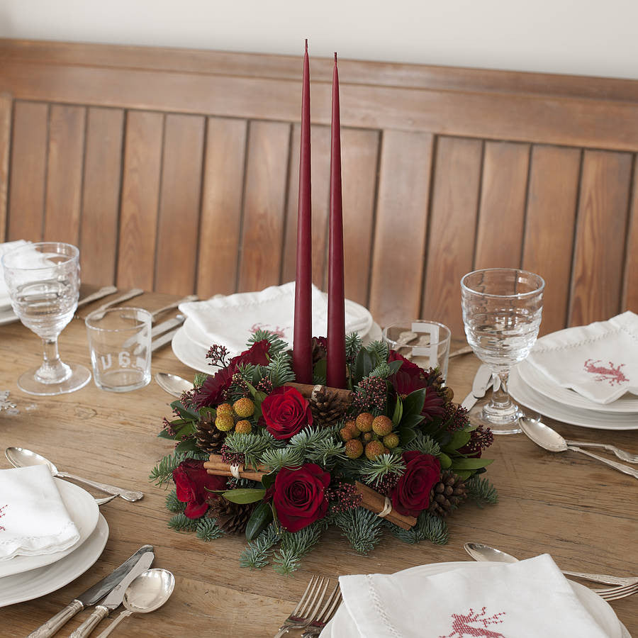 Holly - Luxury Christmas Table Arrangement. Red Roses and Candles.