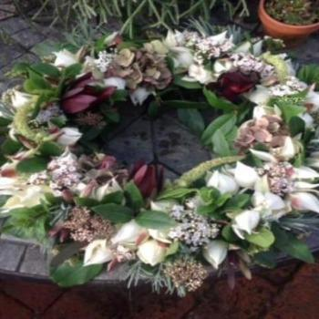 Luxury Orchid and Lime Foliages Funeral Wreath Joannes Florist Winchester