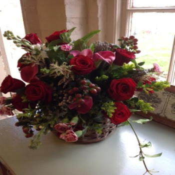 Delia - Luxury Red Roses and Lily Bouquet.