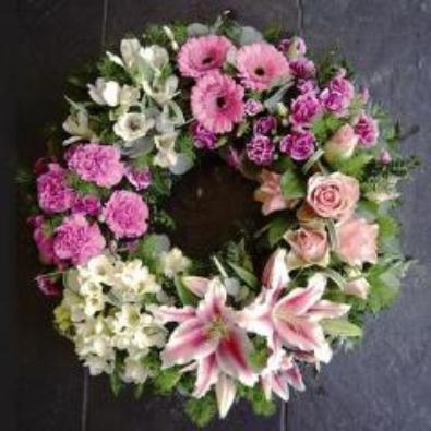 Horsebridge - Funeral Flowers Clustered Pink Rose, Lily Wreath