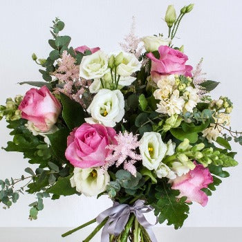 Furley's Pink Roses and Lisianthus Bouquet.