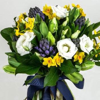 Allegra - Hand Tied Bouquet Yellow Creams and Blue.