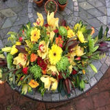 Helena - Funeral Spray -  Roses and Yellow Orchids.
