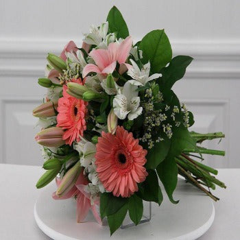 Hillcroft - Pink Gerbera and Lily Bouquet.