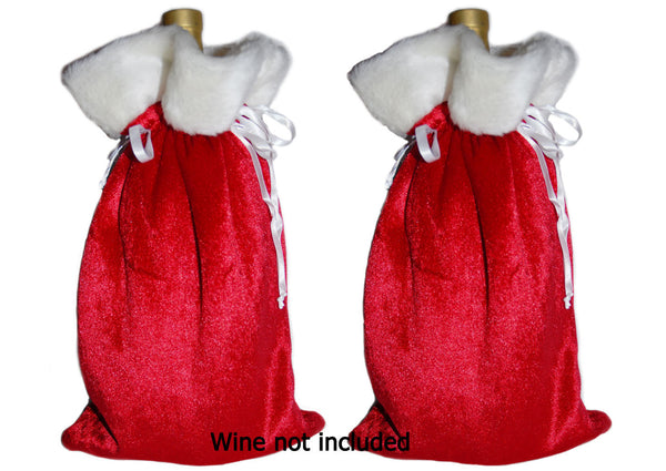 Christmas Holiday Wine Liquor Gift Bags, Wide Size (2 bags), by CentiMom