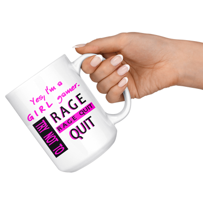 Girl Gamer Rage Quit 15oz Mug