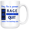 Gamer Rage Quit 15oz Mug