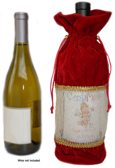 Christmas Holiday Wine Liquor Gift Bags, Label Highlight Window (2 bags)