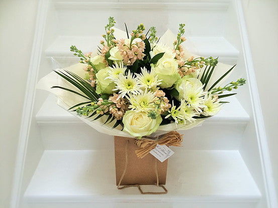 Millefiori Flowers June Bouquet - Cream Roses and Stocks.