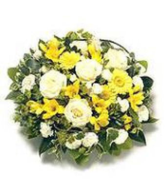 Esta - White/Yellow Funeral Spray
