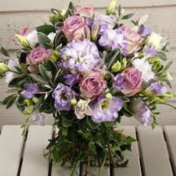 Afii - Vintage Lilac Pink Roses and Freesia Bouquet.