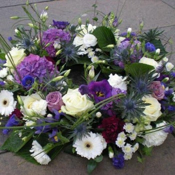 Bedwyn - Cream and Lilac Funeral Wreath -Millefiori Flowers Amesbury