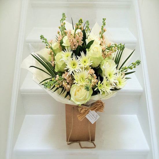 Sidbury - Cream Avalanche Rose Bouquet.