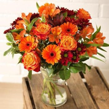 Angelina - Orange Roses, Gerbera and Reds Bouquet