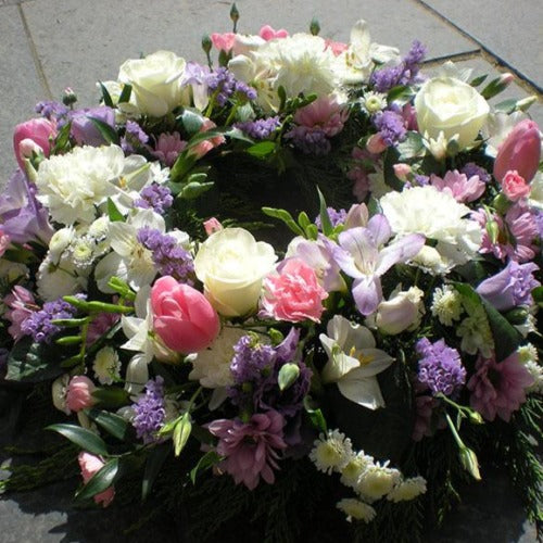 Cream Rose, Lilac and Pink Funeral Wreath - Millefiori Flowers Amesbury