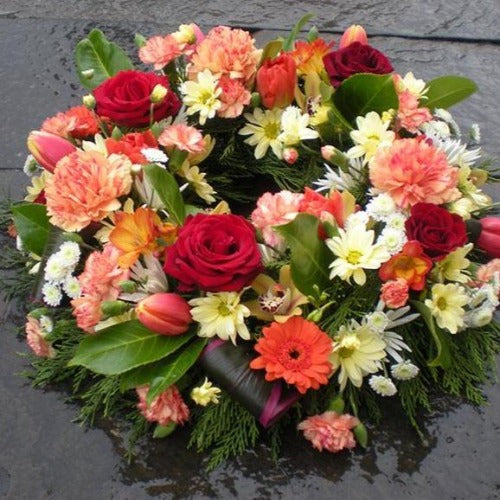 Louisa - Red Rose, Orange Cream Funeral Wreath - Millefiori Flowers Amesbury