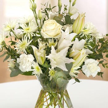 White Rose and Lily Florists Choice Bouquet Millefiori Flowers