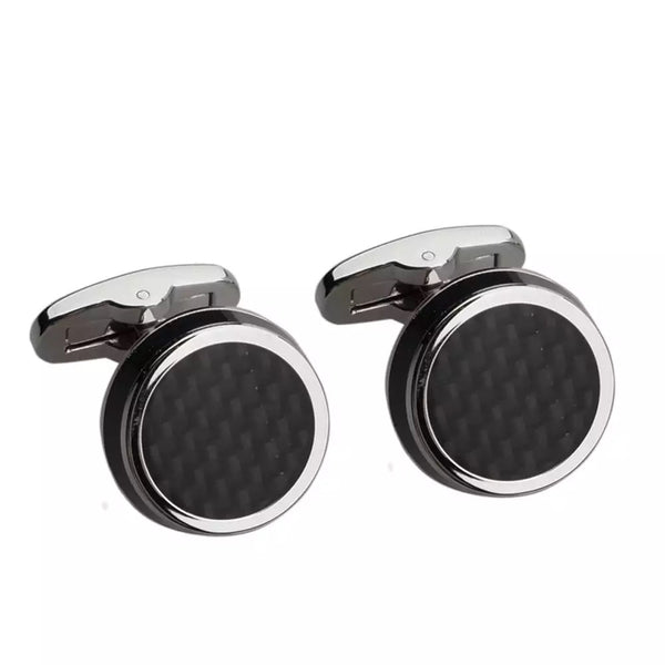Black Carbon Fibre and Enamel Silver Cufflinks