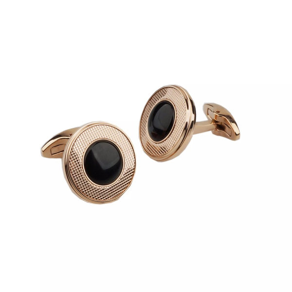 Black Onyx Rose Gold Cufflinks