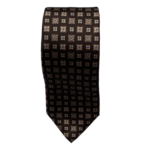Brown Foulard Silk Tie