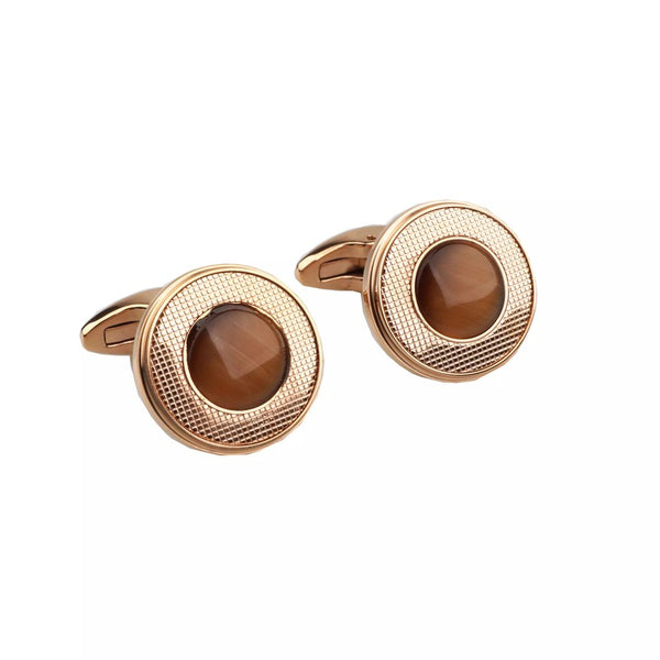 Brown Stone Rose Gold Cufflinks