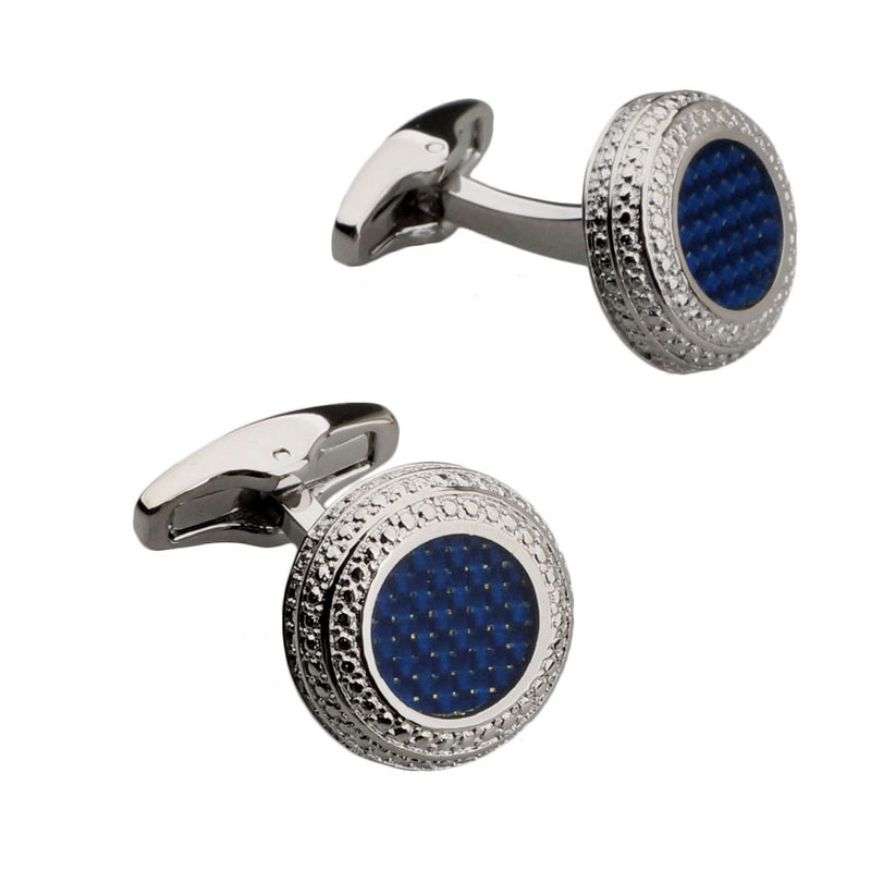 Dark Blue Carbon Fibre Silver Cufflinks