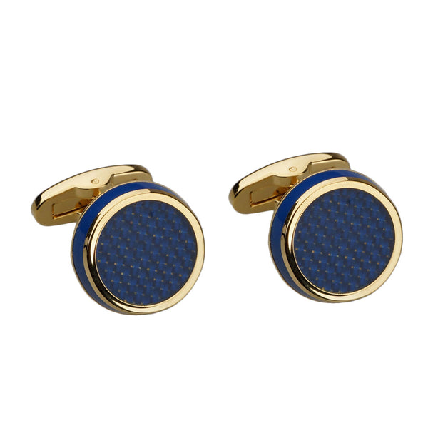 Dark Blue Carbon Fibre and Enamel Gold Cufflinks