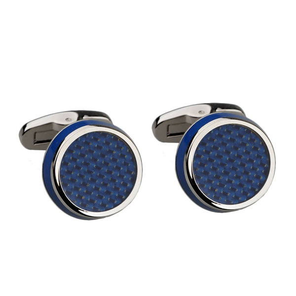 Dark Blue Carbon Fibre and Enamel Silver Cufflinks