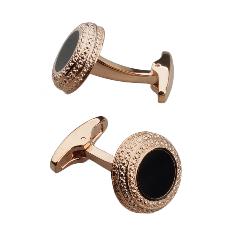 Rose Gold Black Enamel Cufflinks
