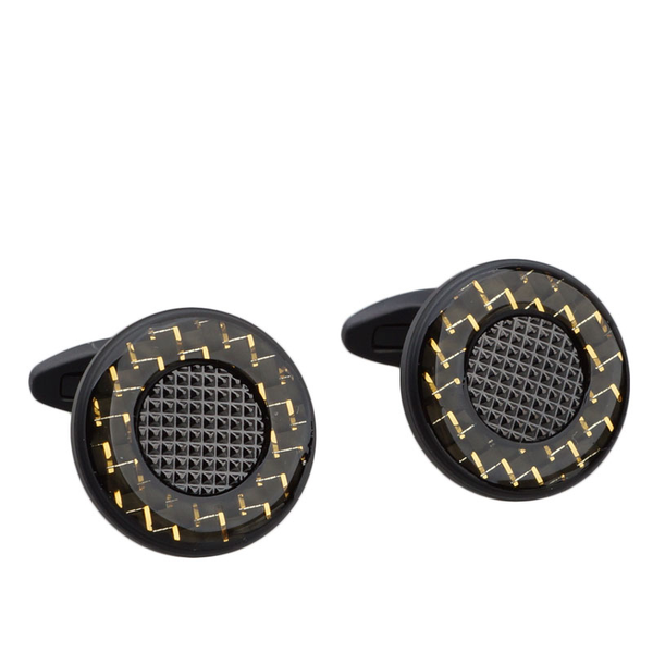 Gold Accent Carbon Fibre Cufflinks