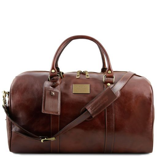 Tuscany Leather TL VOYAGER Travel leather duffle bag with pocket on the backside - Large