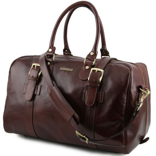 Tuscany Leather TL VOYAGER Leather travel bag with front straps - Small