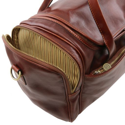 Tuscany Leather TL VOYAGER Travel Leather Bag with side pockets - Small