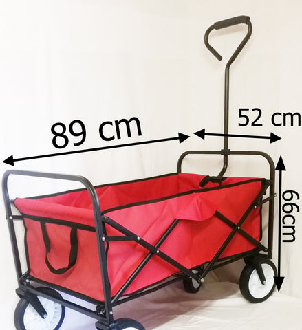 RED FESTIVAL SGP CAMPING PULL ALONG TROLLEY WAGON FOLD-ABLE WHEELBARROW - Orange Imports - 1