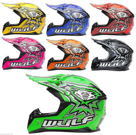 WULFSPORT CUB FLITE EXTRA / KIDS OFF ROAD HELMET / VARIOUS COLOURS - Orange Imports - 1