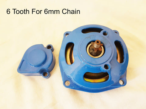 CL032 BLUE RACE CLUTCH BELL HOUSING 6 TOOTH PINION 49 CC MINI MOTO QUAD BIKE