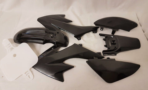 CRF01 SET OF BLACK CRF PIT / DIRT BIKE PLASTICS WITH SEAT FAIRINGS 50CC - 125CC