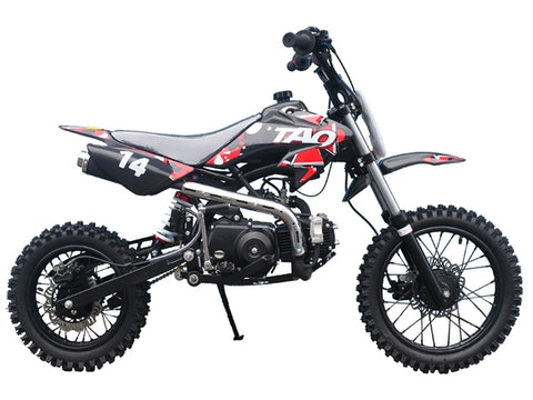 "DB14 RED OR BLUE, 110CC 4 STROKE, DIRT BIKE, WITH KICK START, MANUAL GEARS 12""/14"" WHEELS"