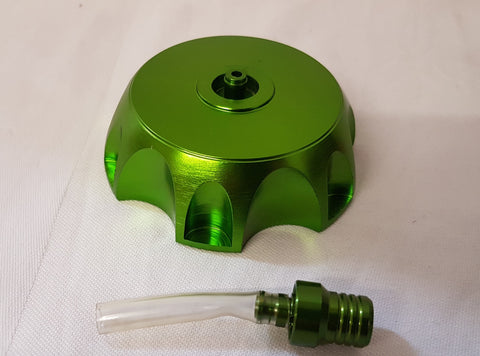 FC009 ANODISED FUEL PETROL CAP AND BREATHER PIPE FOR DIRT BIKE /PIT BIKE / XSPORT METALIC GREEN - Orange Imports - 1
