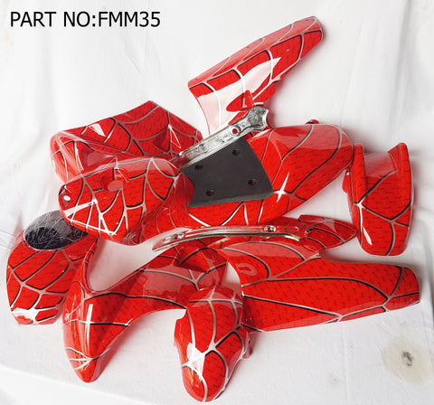 FMM35 RED SPIDER DESIGN  MINI MOTO COMPLETE FAIRING KIT PLASTICS