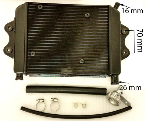 RAD010 RADIATOR, FAN, PIPES FOR SPY RACING 350CC 350F-1 ROAD LEGAL QUAD BIKE