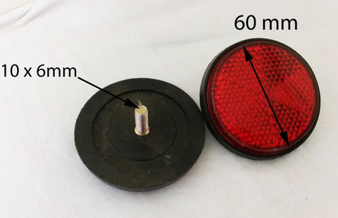 REF06 SET OF 2 X ROUND RED REFLECTORS QUAD BIKE TRAILER CARAVAN