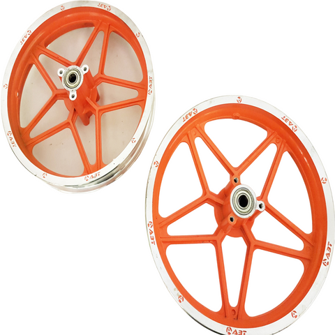 "RIM52 ORANGE SET OF 10"" FRONT & REAR RIMS WHEELS FOR 49CC DB49 MINI DIRT BIKE"