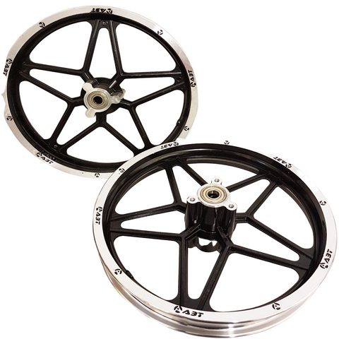 "RIM54 BLACK SET OF 10"" FRONT & REAR RIMS WHEELS FOR 49CC DB49 MINI DIRT BIKE"