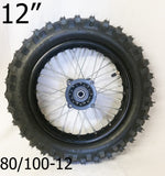 "RIM72 12"" REAR WHEEL RIM AND TYRE 80/100-12 (1.85) FOR 125CC DIRT / PIT BIKE - Orange Imports - 1"