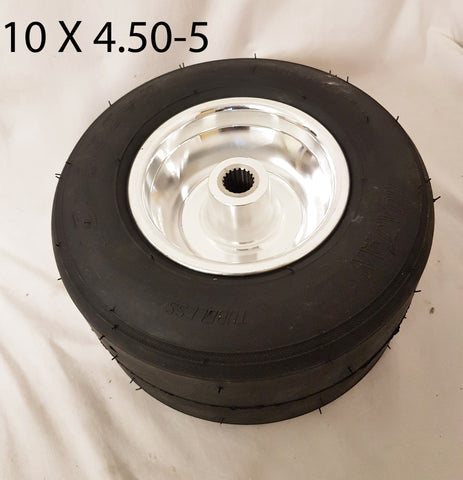 RIM77 49CC GT-ONE DRIFT TRIKE REAR ALUMINIUM CHROME RIM AND TYRE 10 X 4.50-5