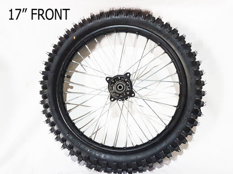"RIM87 FRONT 17"" WHEEL, RIM WITH TYRE FITTED FOR DIRT PIT BIKE 70-100-17"
