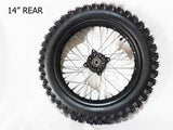 "RIM88 REAR 14"" WHEEL, RIM WITH TYRE FITTED SDG FOR DIRT PIT BIKE 90-100-14"