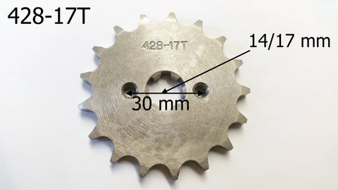 SPF14 FRONT SPROCKET 428-17T 17 TOOTH FOR 150CC / 200CC QUAD / DIRT & PIT BIKES - Orange Imports